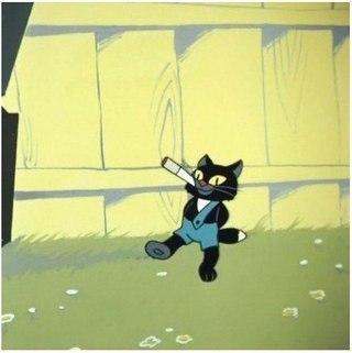 Кот с сигаретой из мультика