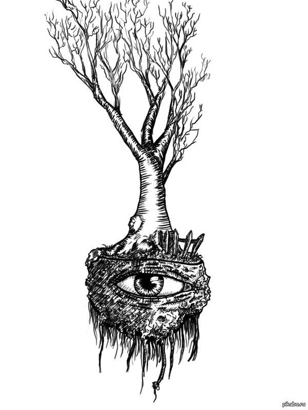 Дерево от пикабушника. Если вы знакомы с  рисунками lilhorde, вот вам свежак. Сам художник забанен, слёзно просил выложить сие творение.