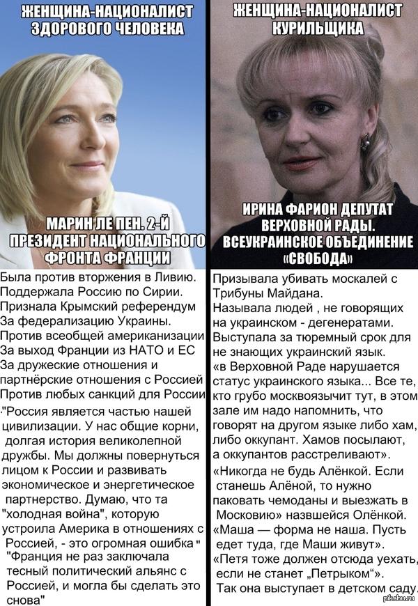 Две женщины. Два политика. Обе считают себя националистками. Но не стоит путать национализм с  идиотизмом. http://blog.fontanka.ru/posts/137612/ далеко не все цитаты влезли в пост