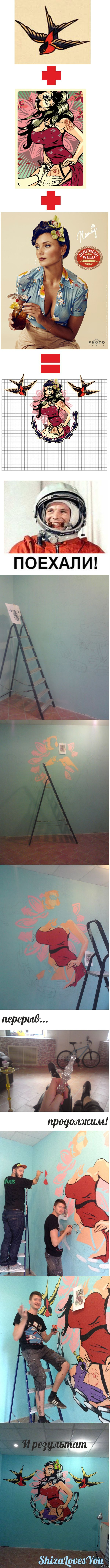 Первый рисунок на стене Мне даже помогали. =)