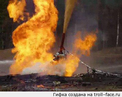 """Один из методов ликвидации нефтегазового фонтана Наведение превенторной сборки при помощи гидравлического шарнира. В продолжение поста <a href=""""http://pikabu.ru/story/vpechatlyaet_2221424"""">http://pikabu.ru/story/_2221424</a>"""