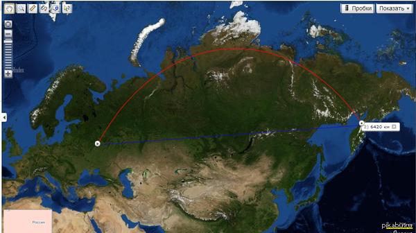 Сегодня я сделал для себя открытие... Бесполезное, но открытие Оказывается самый короткий путь из Москвы в Камчатский край - красная дуга, а не синяя прямая, как я думал раньше :\