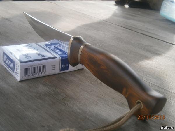 Ножик. Сталь X40Cr13, латунь, бук.