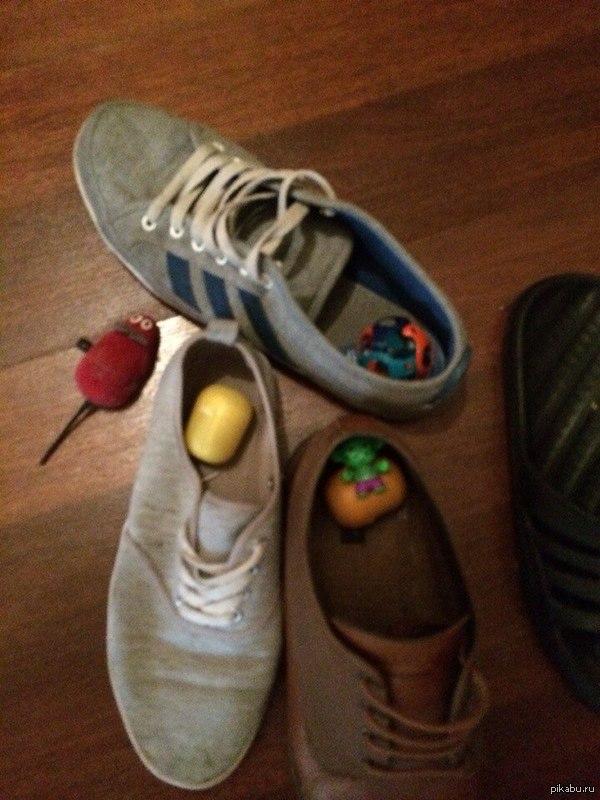 Владельцам котов это знакомо Кот поиграл и прибрал свои игрушки. Почти постоянно надевая обувь, что нибудь да обнаруживаю внутри.