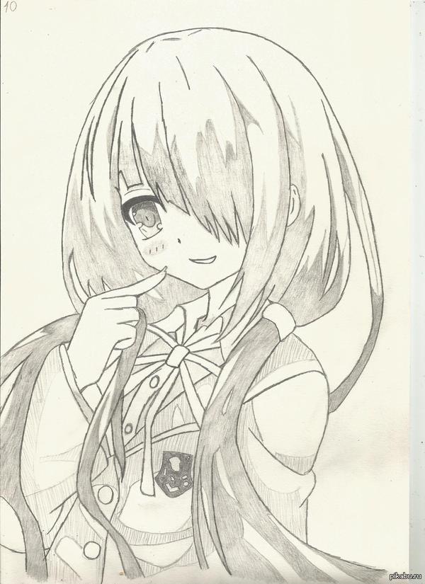 карандашом картинки аниме