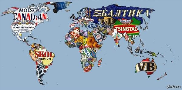 Популярность марок пива в разных странах