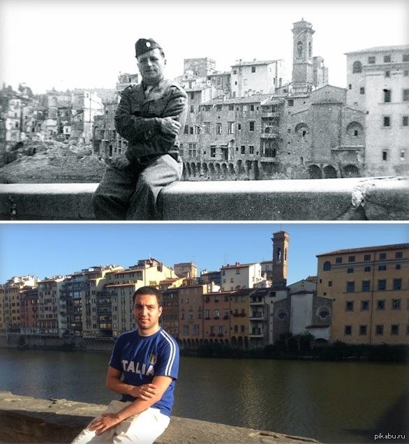"""""""Сижу именно там, где мой дед сидел во времена Великой Отечественной Войны. 1944 против 2014. Флоренция Италия"""""""