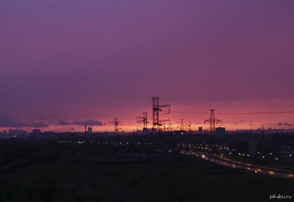 Закат над Москвой вид на Москву со стороны Люберец