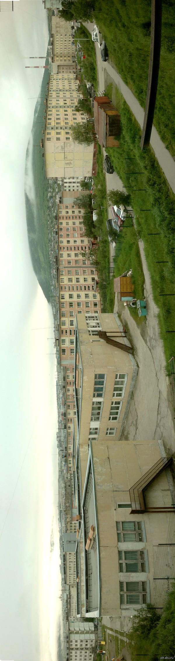 Панорама Магадана с улицы Колымской. летний  отпуск на Охотском море. Внутри горизонтальная фотка