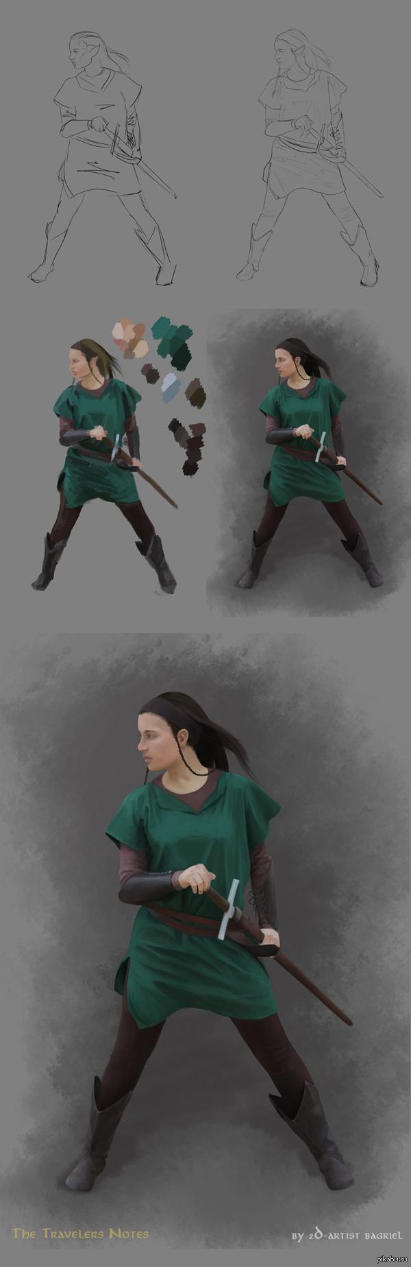 """Ещё один концепт арт Продолжаем создавать персонажей для игры  <a href=""""http://pikabu.ru/story/the_traveller_notes_2603398"""">http://pikabu.ru/story/_2603398</a>  И нам всё ещё нужны персонажники и аниматоры =)"""