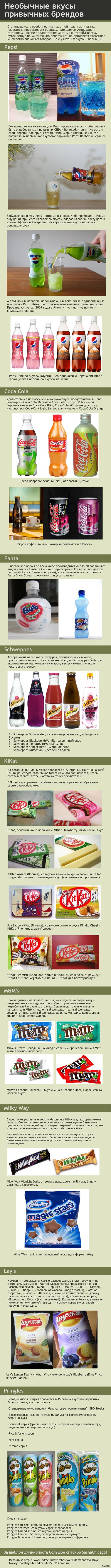 Неизвестные товары известных брендов Pepsi из огурца, молочная Fanta, чипсы Lay's со вкусом черники и еще несколько необычных продуктов, которых не продают в России.