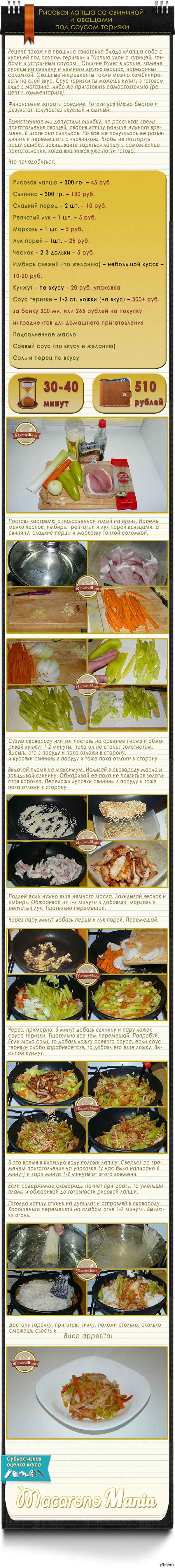 Рисовая лапша со свининой и овощами под соусом терияки Вкусно. Быстро. Относительно дорого. Ссылка на рецепт соуса терияки в комментариях.