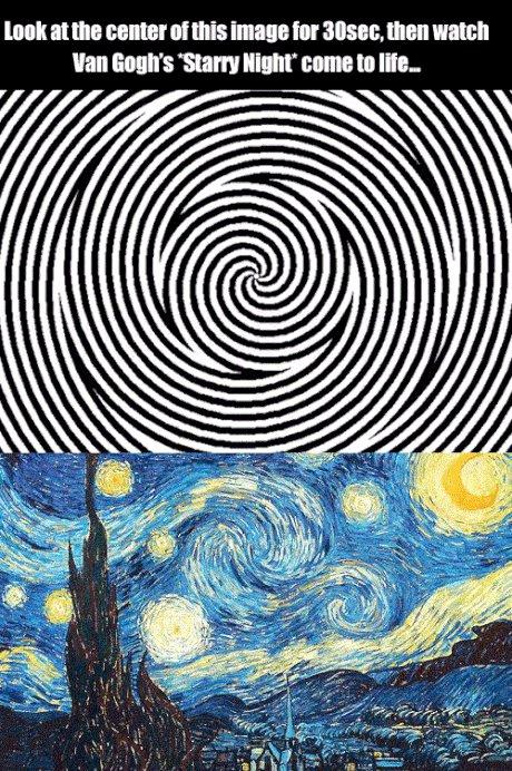 Смотрите на центр гифки, а затем посмотрите на картину Ван Гога