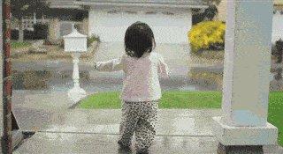 Девочка возможно первый раз увидела дождь:) Милота