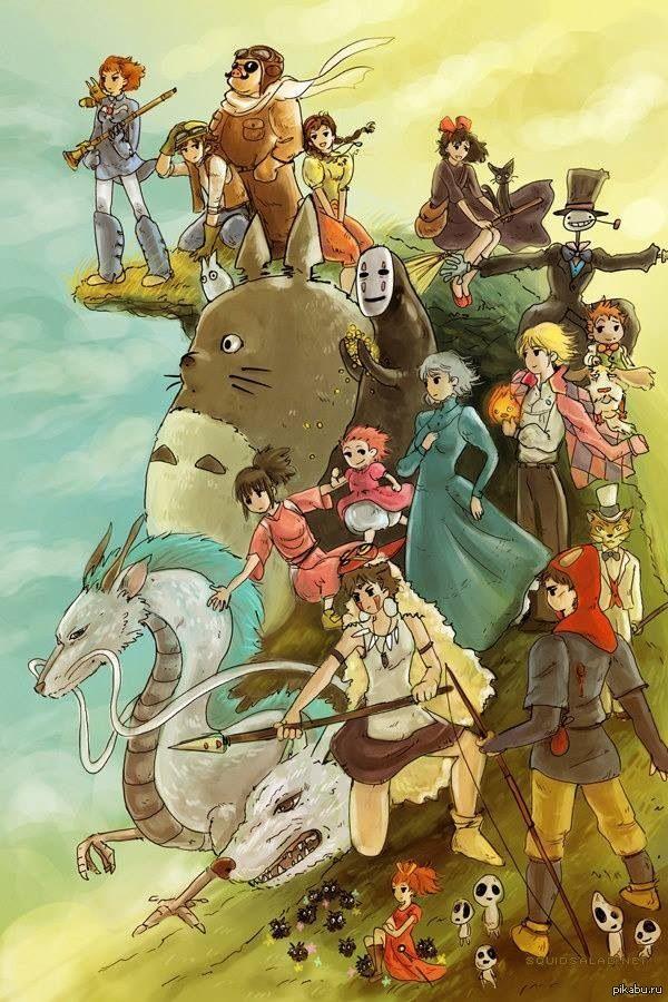 Studio Ghibli fan art by Annie Герои студии Гибли в одной картинке