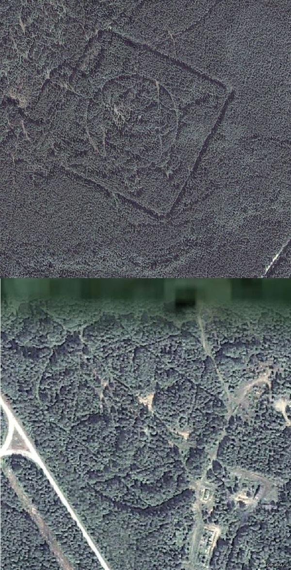 Звезды?? Гуляя по гугл-лес нашел лесопосадки в виде шестиконечных звезд... расстояние между ними 6.8км... что это может быть?