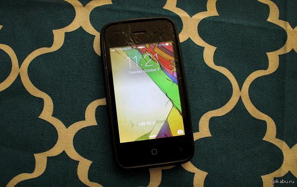 """""""Разбил свой телефон. Решил сделать для него обои под треснувшие области экрана"""" Результатом доволен"""