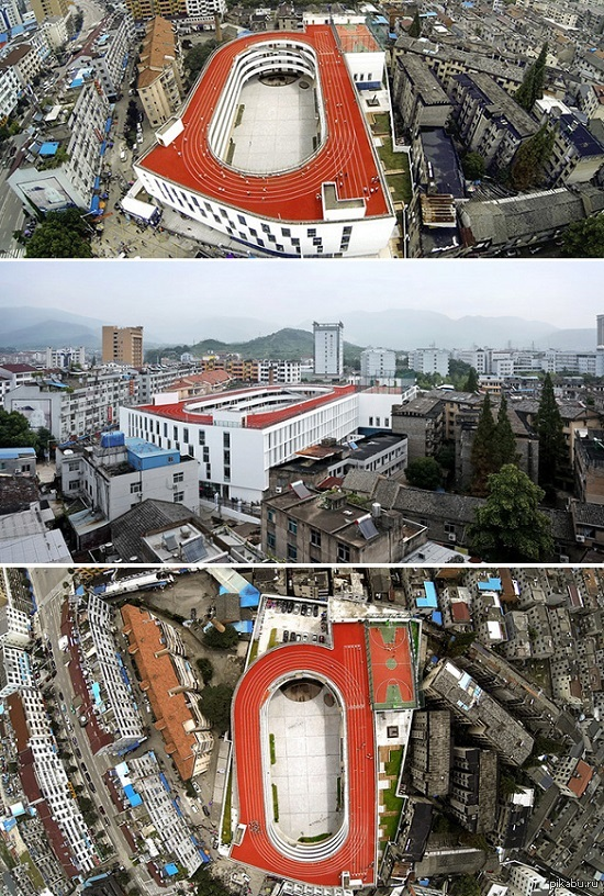 В Китае построили школу со стадионом на крыше Китай продолжает прибавлять не только в численности населения, но и в технологиях.