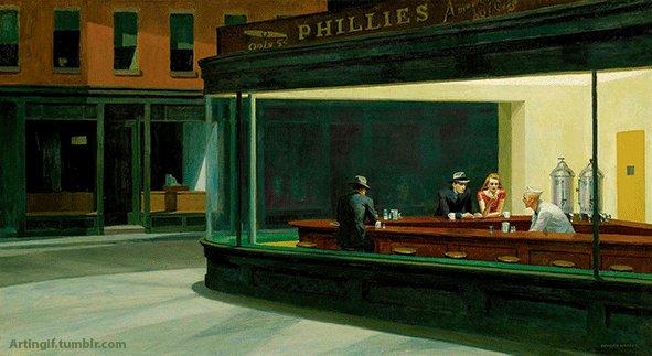 """Ожившая картина Эдварда Хоппера. Картина """"Полуночники""""."""