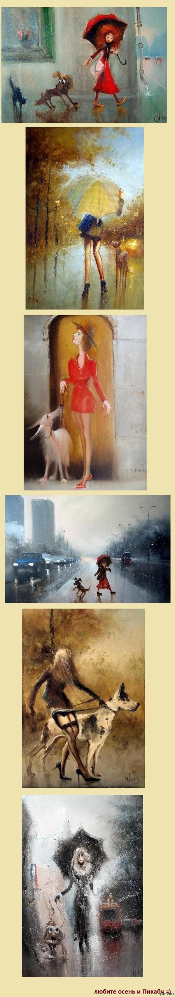 Шарм осени осень, девушки и их собаки в удивительных картинах Игоря Медведева