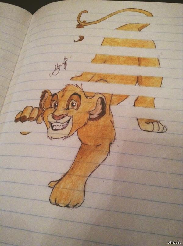 Думаю, многие видели подобный рисунок, только с обычным котом. Попробовала нарисовать нечто подобное)