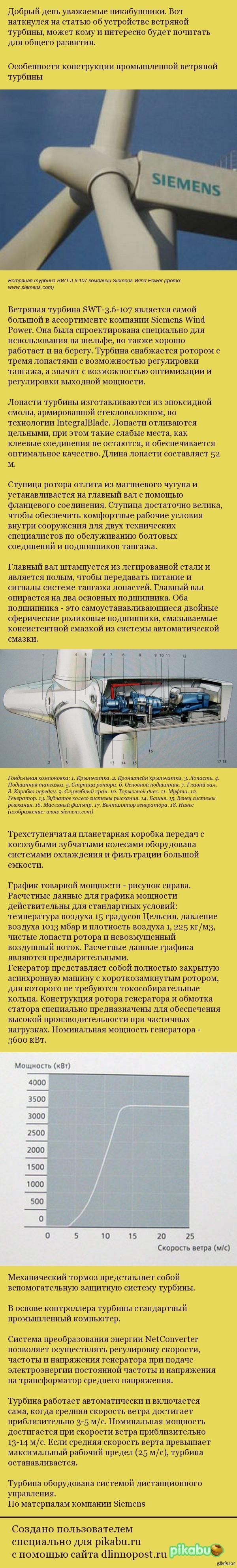 Особенности конструкции промышленной ветряной турбины Для тех, кому это интересно.
