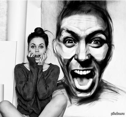 Просто девушка с кричащим мужиком Эта прекрасная девушка рисует довольно-таки интересные портреты