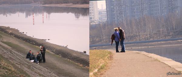 У всех свои причины для прогулки Фотографии сделаны в один день, их разделяют 100 метров.