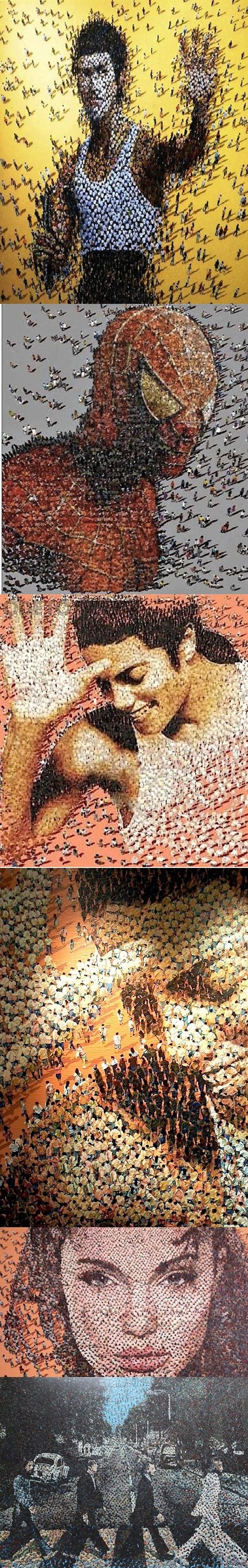 Портреты знаменитостей...из людей Художник по имени Syaiful A. Rachman решил попробовать создать картины из людей.