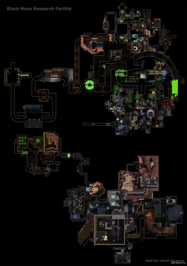 Карта комплекса Black Mesa из игры Half-Life. Ссылка на полноразмерную версию https://vk.com/doc187243982_352697947  P. S. Сюда бы ещё локации из дополнений (Opposing Force и т.д.) - было бы вообще шикарно.
