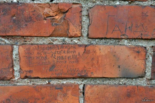 """История на стенах. Здесь когда-то был военный пост. Солдаты оставляли на этих стенах свои """"следы в истории"""" Этим упомянутым """"салагам"""" сейчас уже по 67."""
