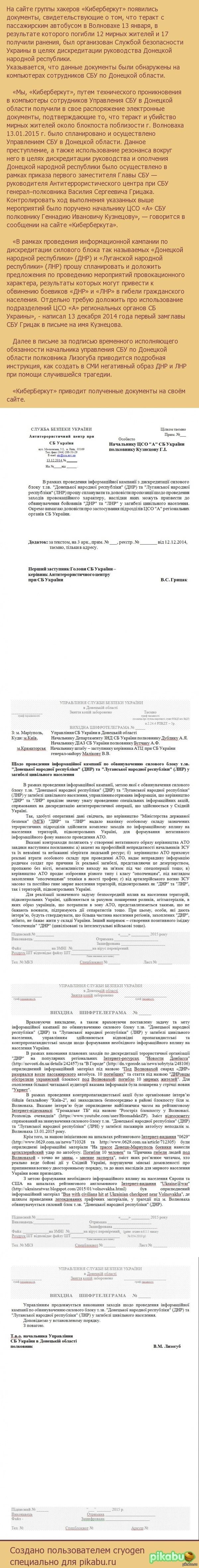 «Киберберкут»: Теракт с автобусом в Волновахе устроили украинские спецслужбы На сайте «Киберберкут» появились документы, свидетельствующие о том что теракт с автобусом в Волновахе 13 января был организован Службой безопасности Украины