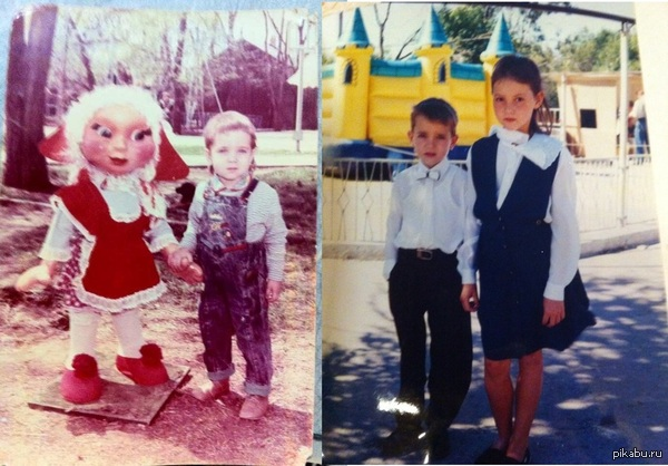 "Ох уж эти 90-е... Не так давно, сестра прислала пару моих фото с разницей в пару лет. =) Нашла в залежах старья. В ответ на <a href=""http://pikabu.ru/story/okh_uzh_yeti_90e_ryilsya_v_shkafu_nashel_paru_fotografii_svoikh_rodakov_stayl_na_urovne_d_3021481"">http://pikabu.ru/story/_3021481</a>"