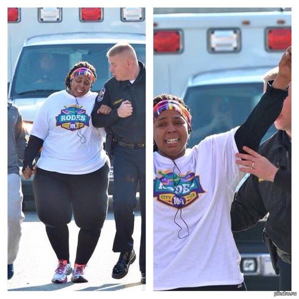 Полицейский подбадривает женщину, которая похудев на 90 кг, приняла участие в забеге и прошла свои первые 10 км в топе reddit