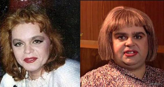 Слева - Лариса Долина в молодости. Справа - Сергей Рост в образе. я просто оставлю это здесь...