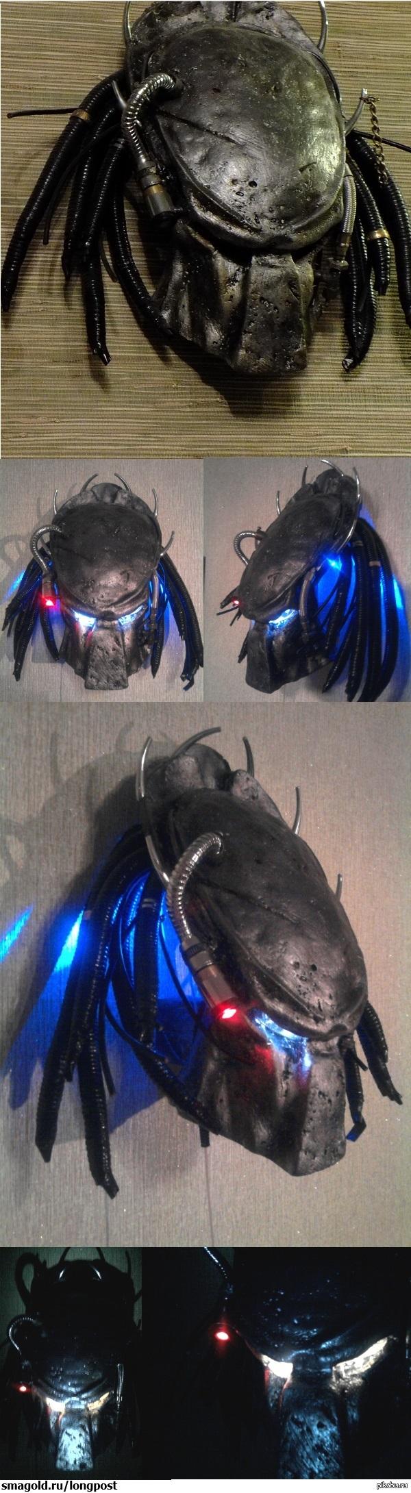 Маска хищника моими руками) Фанат я этого кинца и всегда хотел иметь  маску хищника, но глядя на цены реплик ,решил сделать сам  и сделал из гипса)