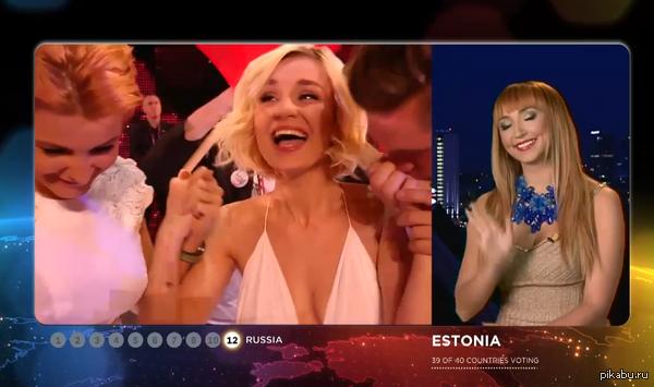 """Спасибо, Эстония! Решающий момент между 2 и 3 местом для Полины Гагариной. Спасибо за то, что проголосовали без политики. """"Возводим мосты""""!"""