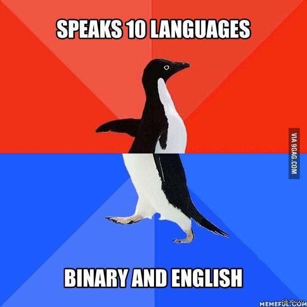 Говорю на 10 языках Бинарном и Английском