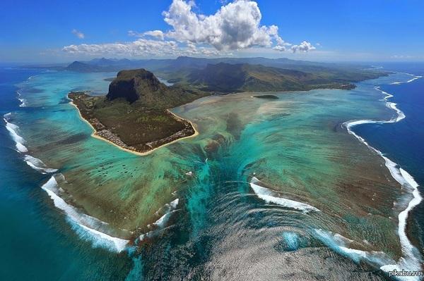 Необычные, загадочные и поражающие воображение места на нашей планете. Оптическая иллюзия подводного водопада, Маврикий
