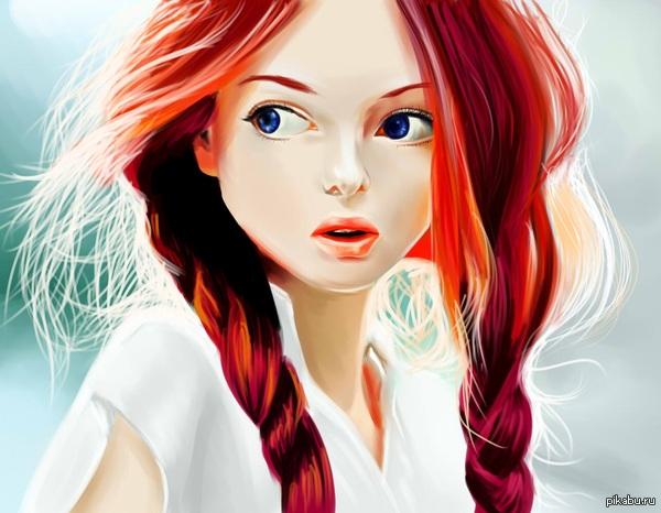 Рыжая девушка вышивка