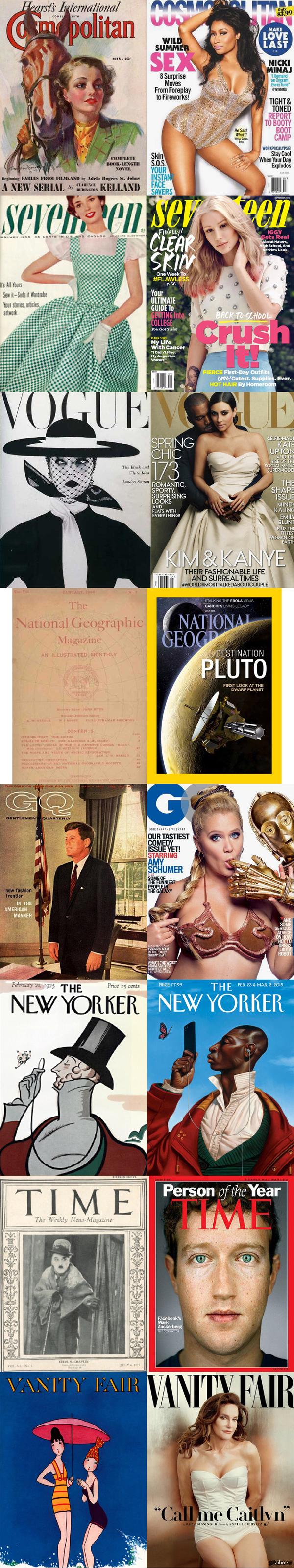 Эволюция журнальных обложек за последние десятки лет