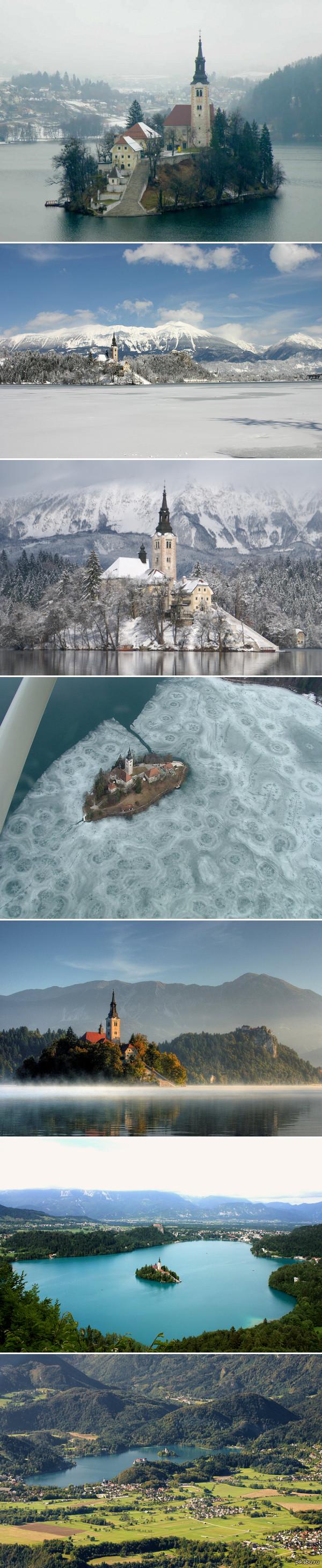Озеро Блед. Словения на середине озера на острове размещена часовня с «колоколом желаний», говорят, если загадать желание и позвонить в этот колокол, то оно обязательно сбудется