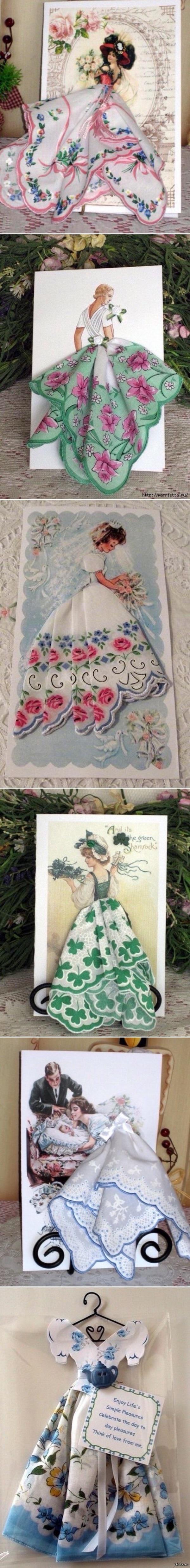 Авторские открытки,с использованием платочков