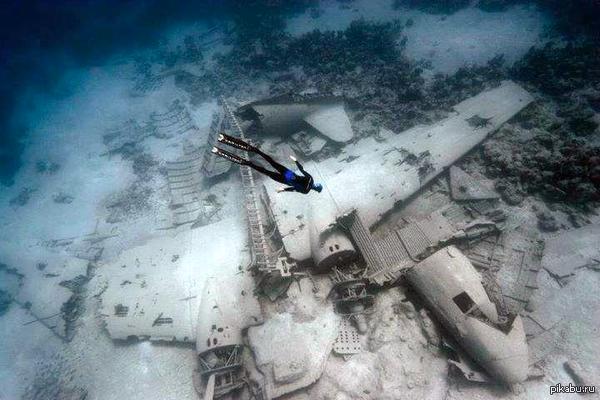Дайвер и обломки самолёта. Нассау, Багамские Острова. Самолет DC-3 был затоплен специально для съёмки фильмов