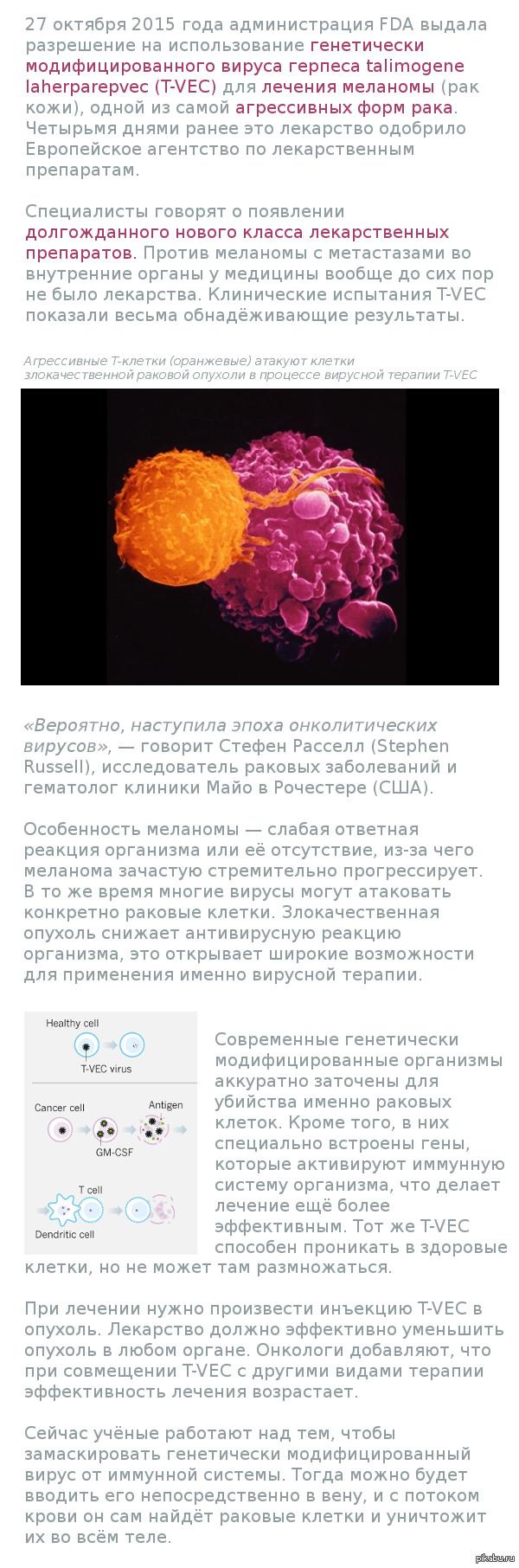 Вот это круто! Первый генетически модифицированный вирус одобрен для лечения рака. Взято с geektimes.