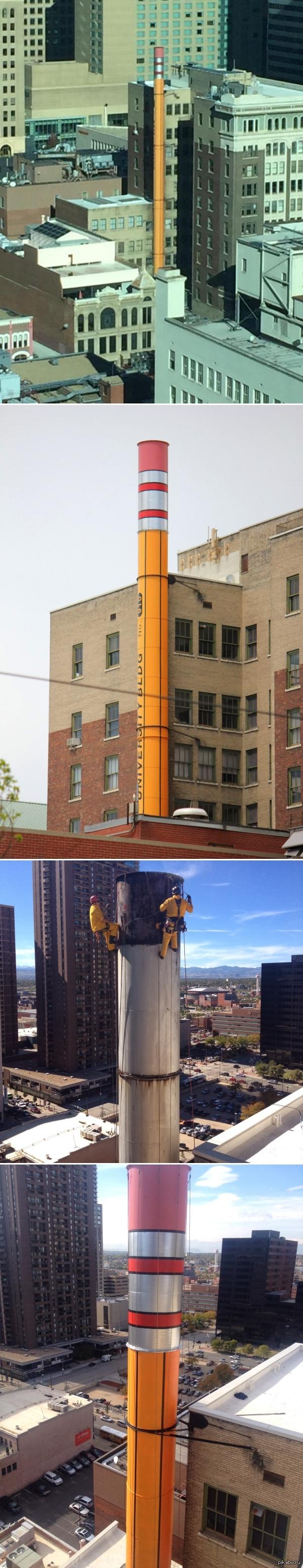Дымовая труба оформленная как гигантский карандаш Денвер, Колорадо