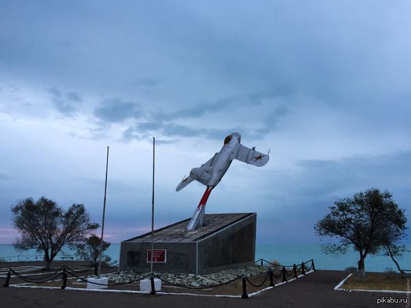 Казахстан. Приозёрск. Памятник погибшим лётчикам-испытателям. МиГ-15