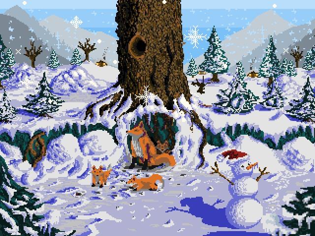 Зимние лисички Рисовал на конкурс на другом ресурсе, но решил поделиться зимним настроением и здесь.