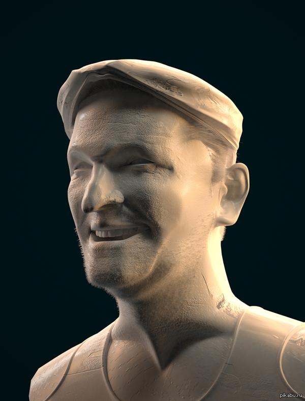 Модель в 3D. Трехмерная модель актера с самыми Добрыми нравами.  Выполнено ,но не завершено на досуге.
