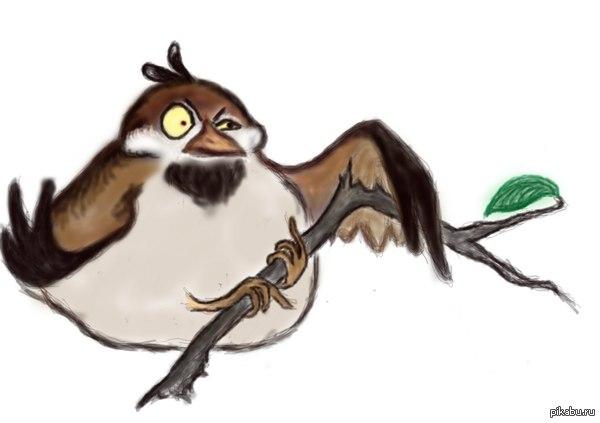 Толстый воробей ломает ветку) Раз уж стало модно рисовать птиц..